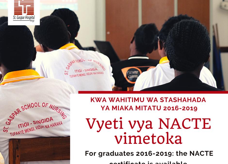 Diploma NACTE disponibile presso la Segreteria